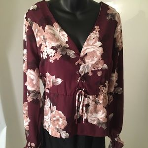 GUESS Burgundy Floral Lace-up Blouse